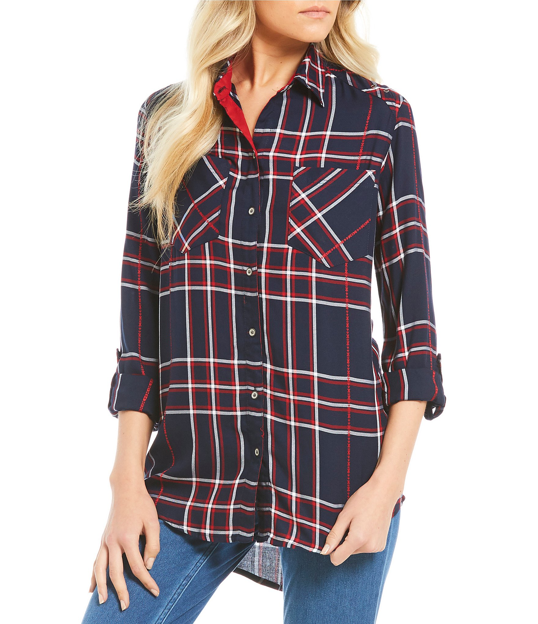 Westbound two pocket boyfriend shirt dillards for Red white and blue plaid shirt