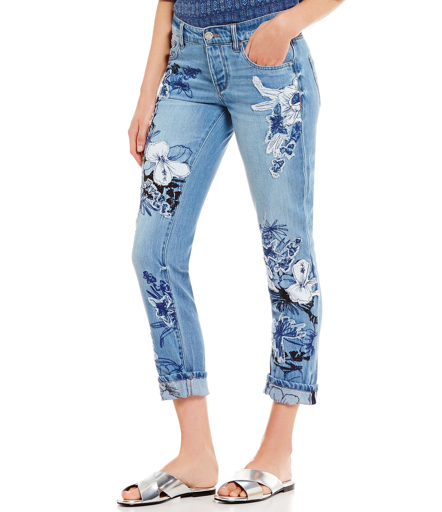 William rast my ex´s floral embroidered skinny jeans