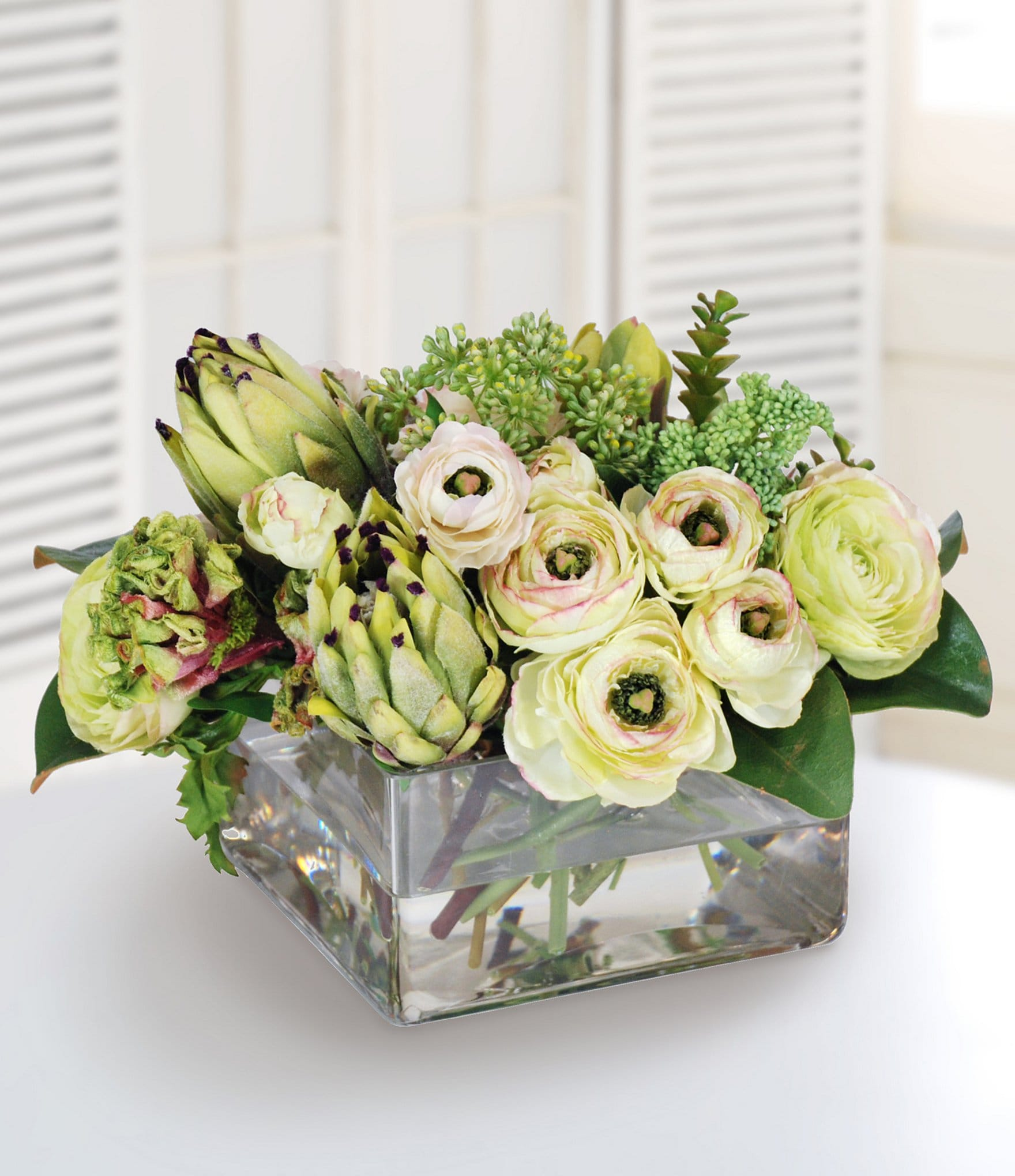Winward Faux Flowers Protea And Ranunculus In Square Glass Vase Dillard S