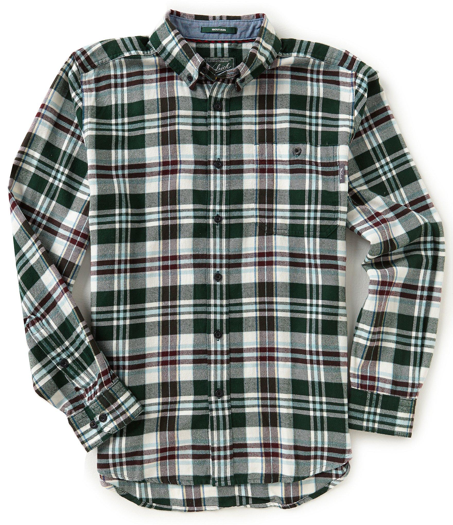 Woolrich Trout Run Long Sleeve Plaid Flannel Shirt Dillards