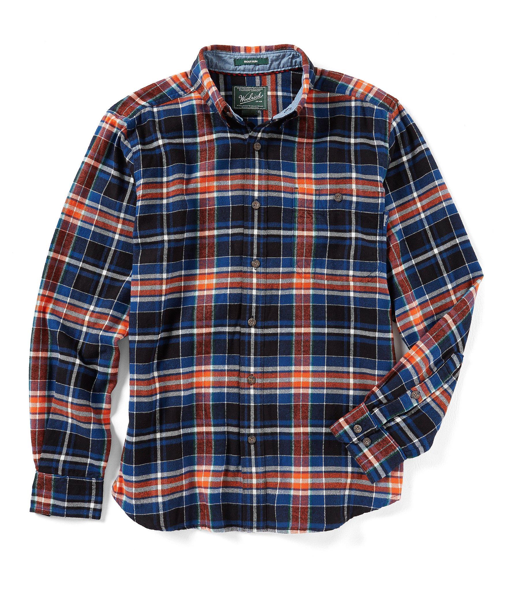 Woolrich trout run long sleeve plaid flannel shirt dillards for Long plaid flannel shirt