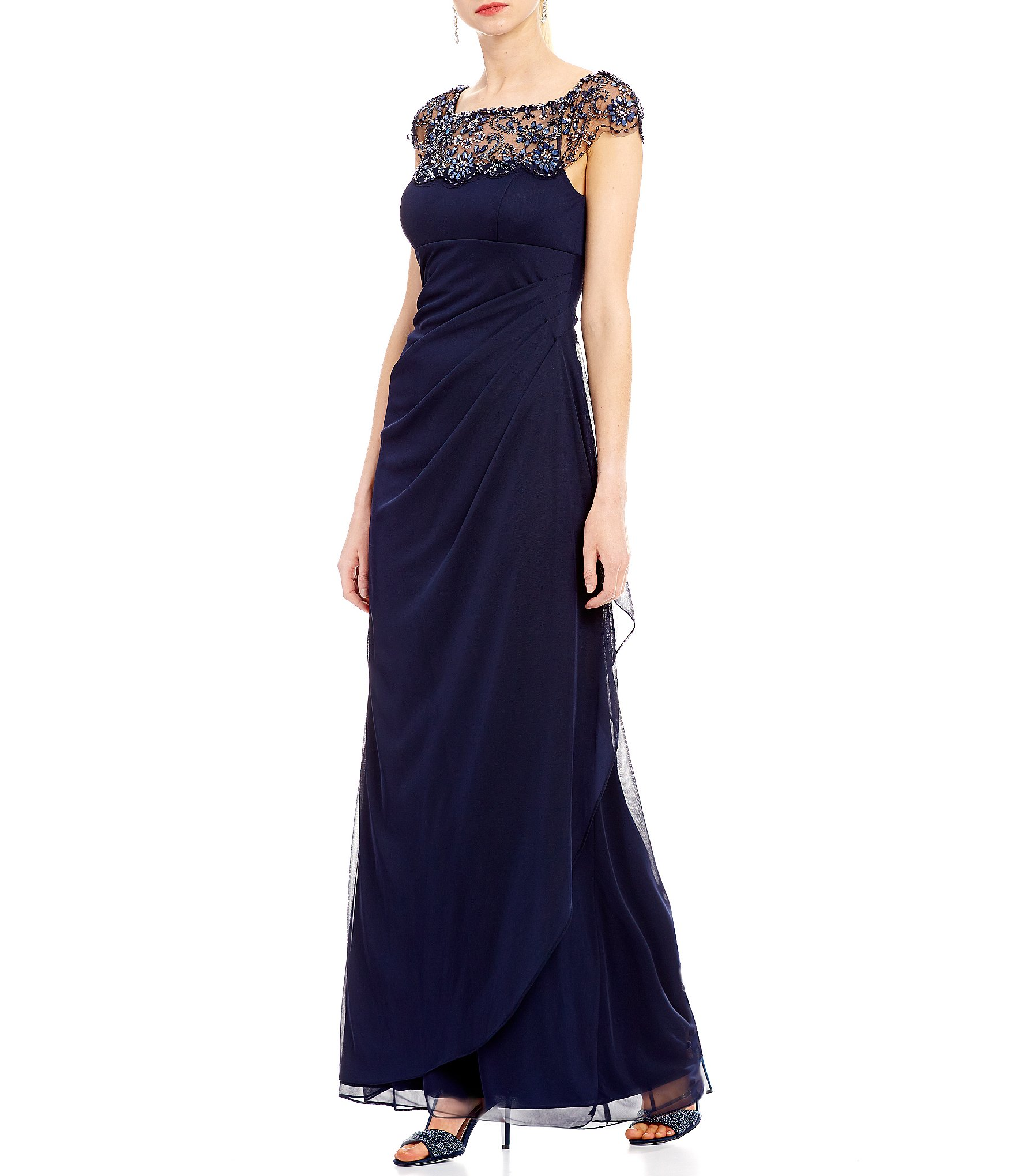 xscape beaded illusion neck ruched gown dillards
